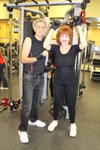 Debbie & Ron Schwartz work out at the Adolplh & Rose Levis Jewish Community Center gym in Boca Raton.